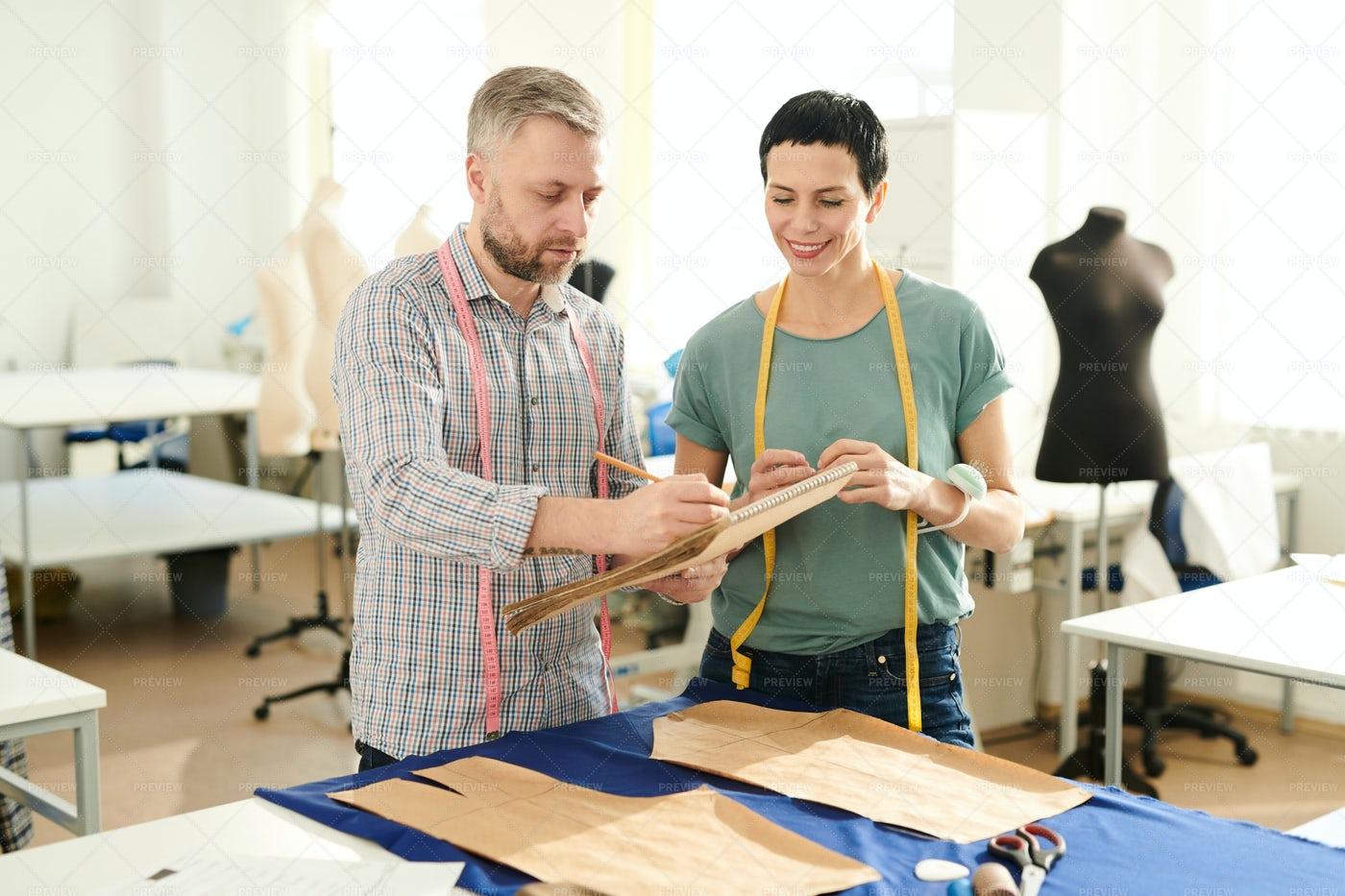 Colleagues In Tailoring Shop: Stock Photos