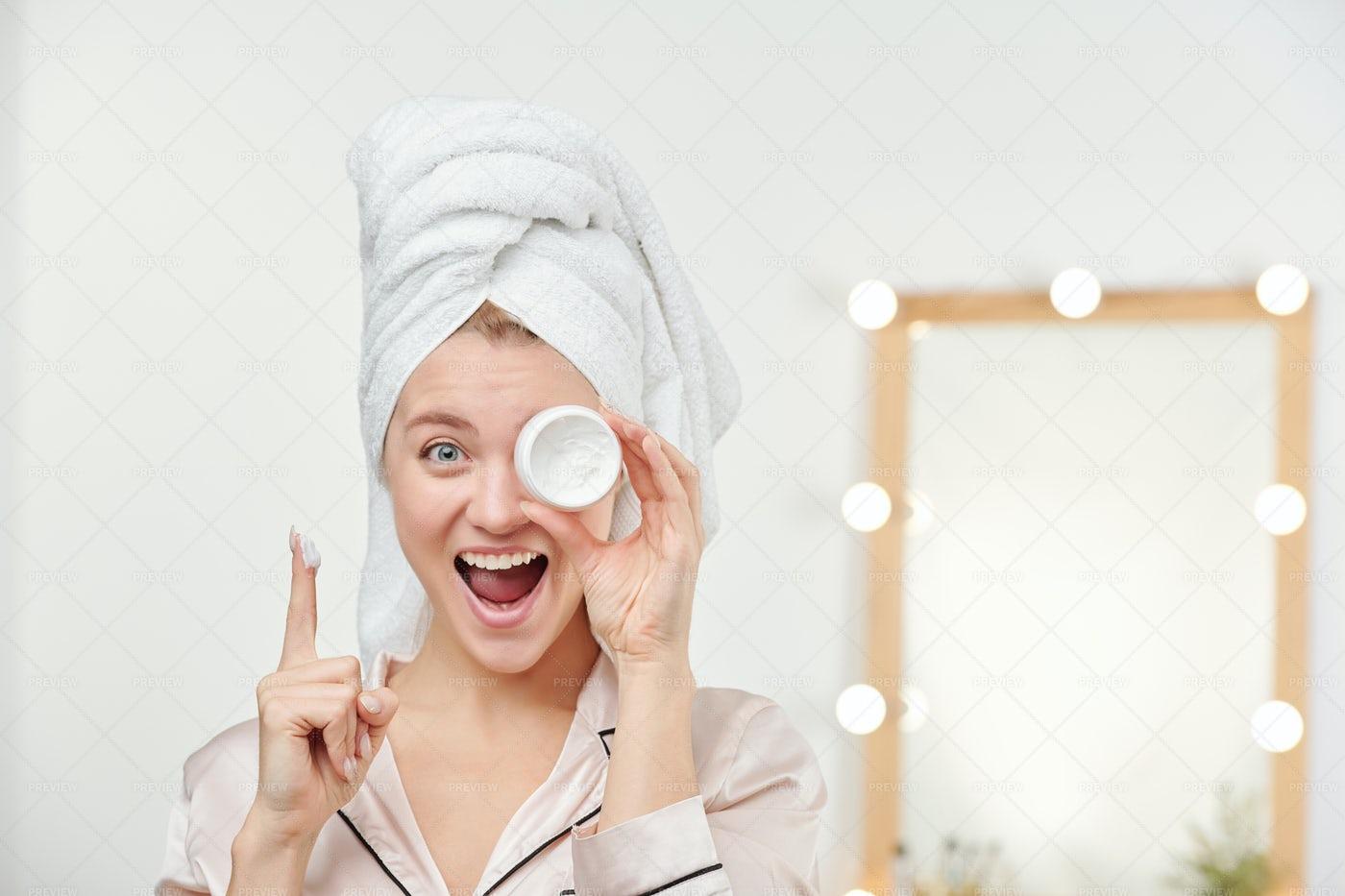 Ecstatic Girl With Towel On Head...: Stock Photos