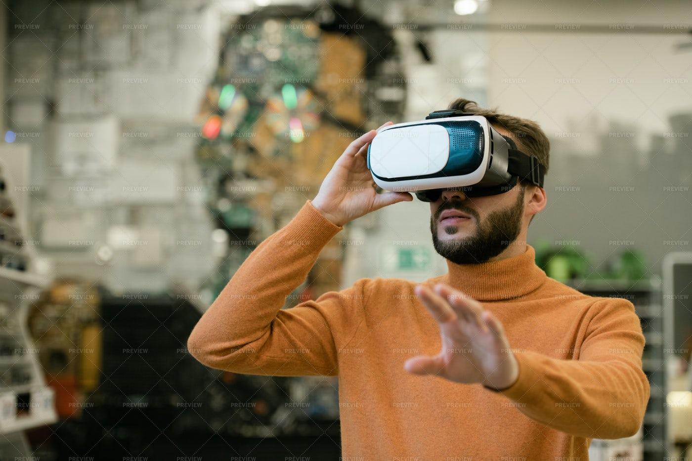 Young Man In Virtual Reality...: Stock Photos