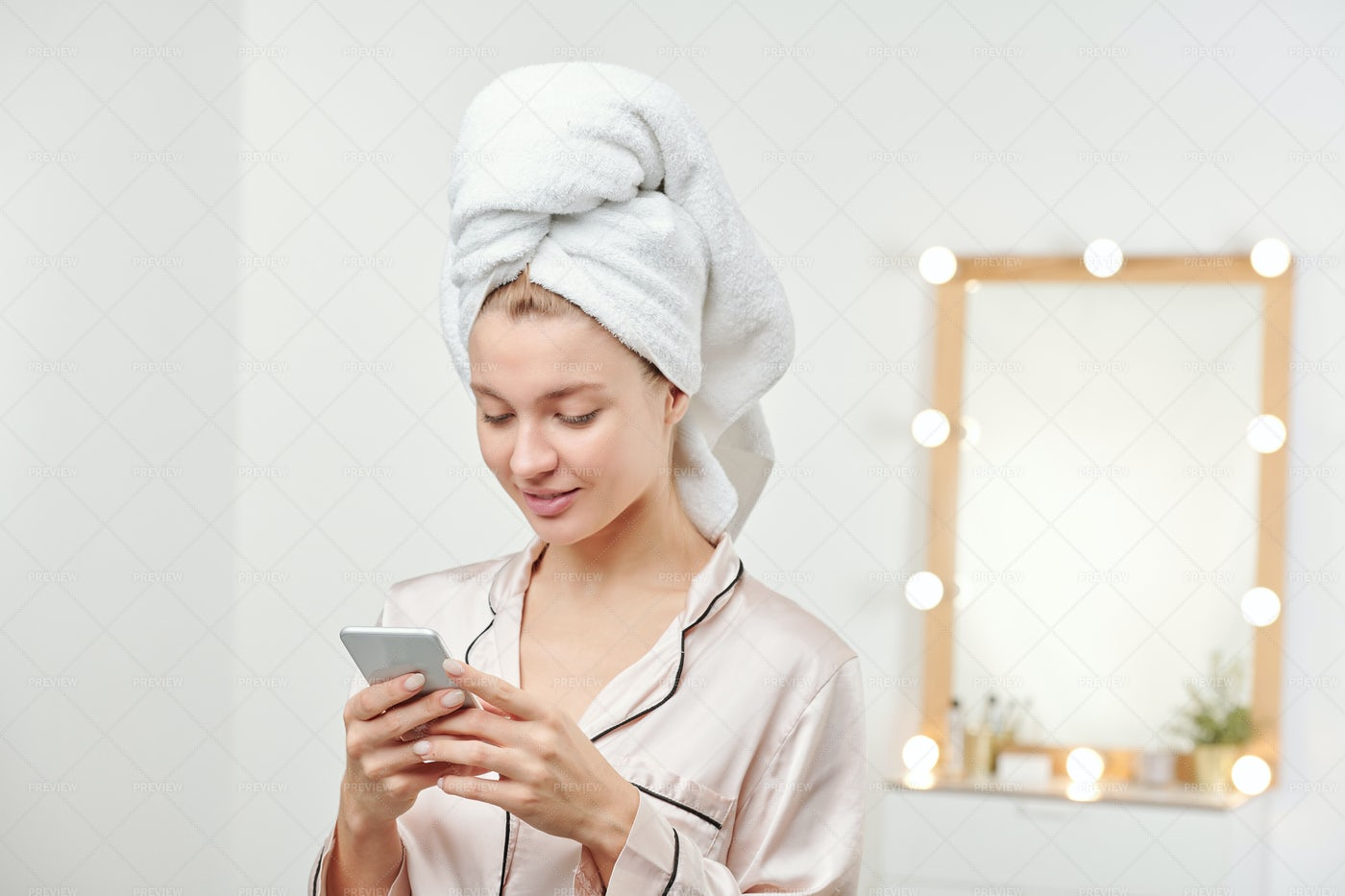 Young Clean Woman With Soft White...: Stock Photos