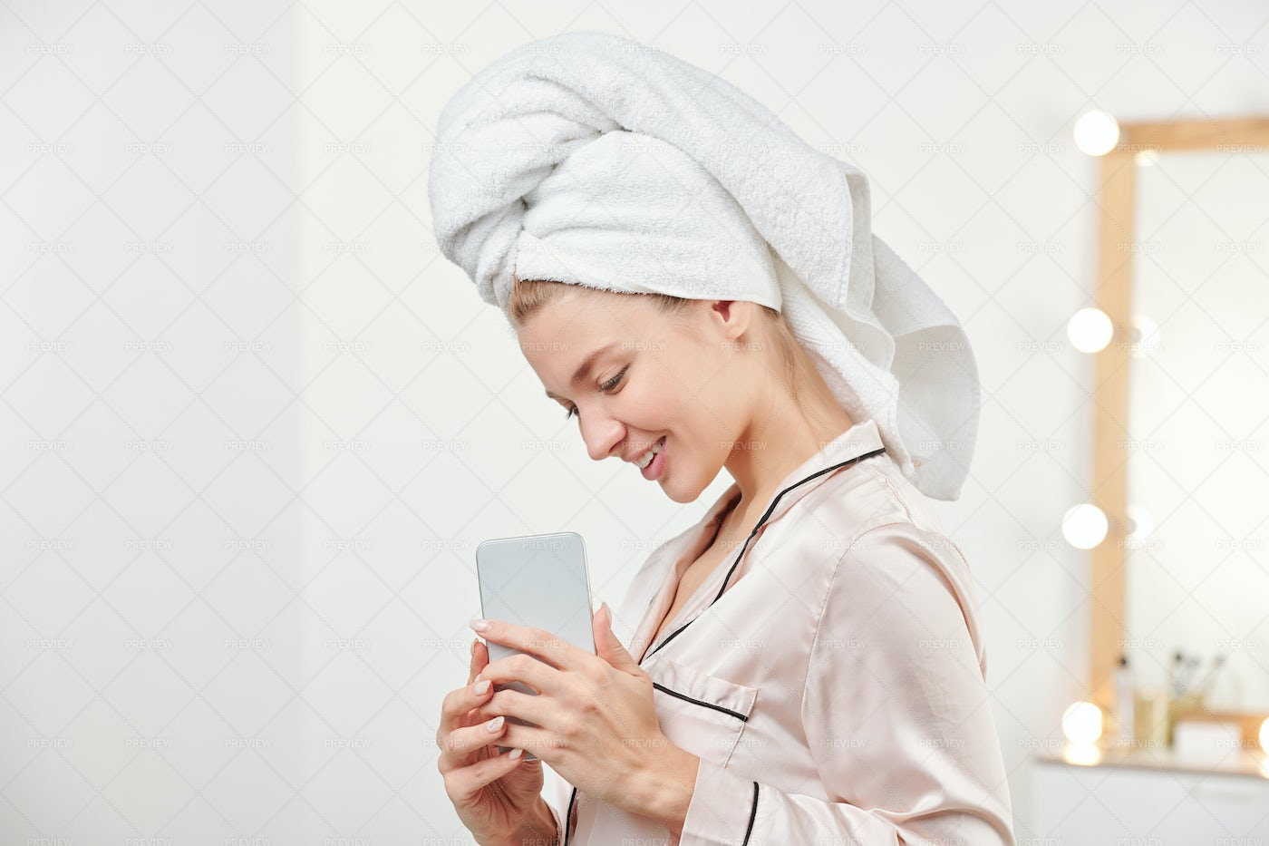 Pretty Smiling Girl With Towel On...: Stock Photos