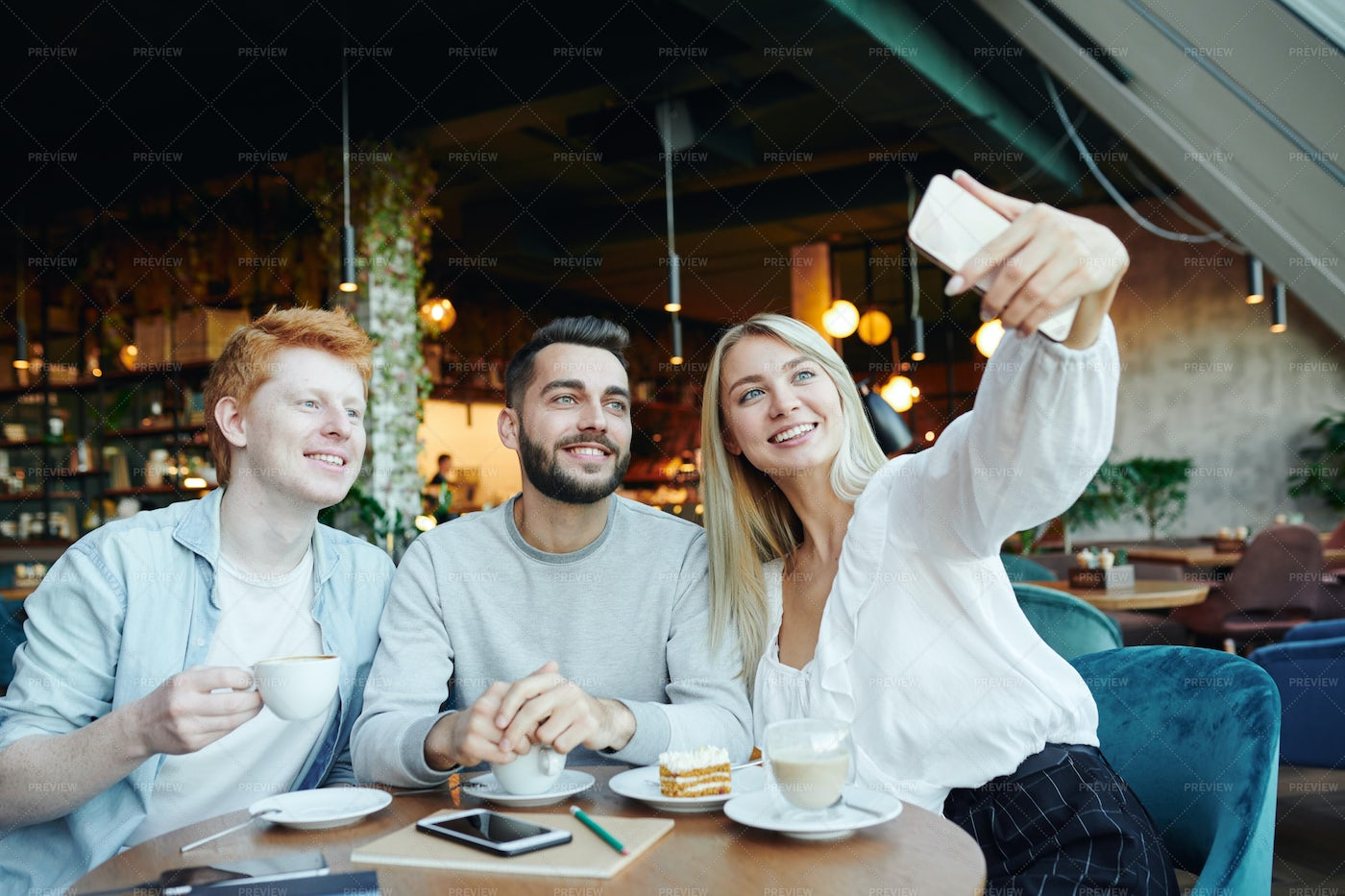 Group Of Cheerful Young Friends...: Stock Photos