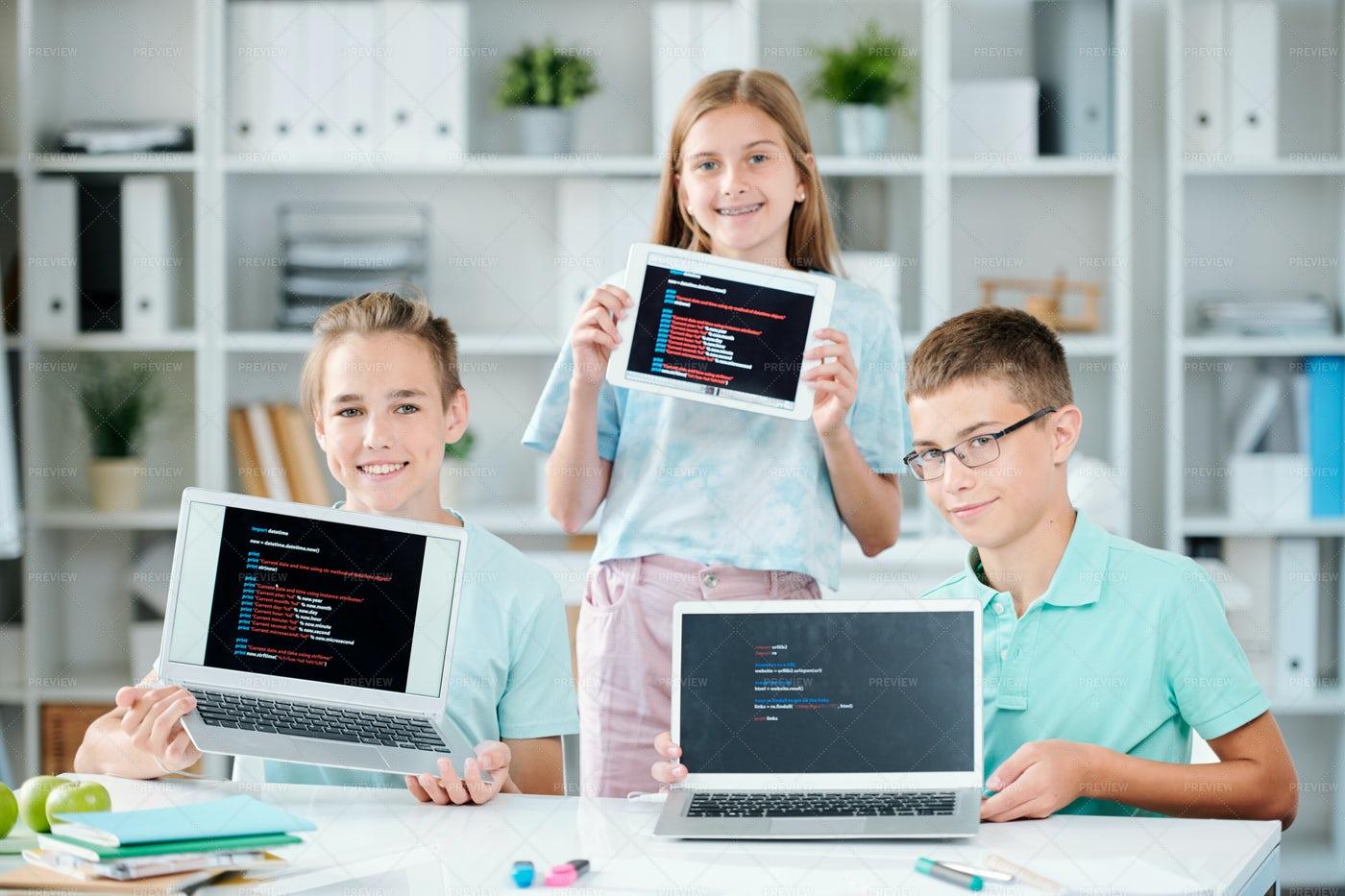 Three Happy Successful Classmates...: Stock Photos