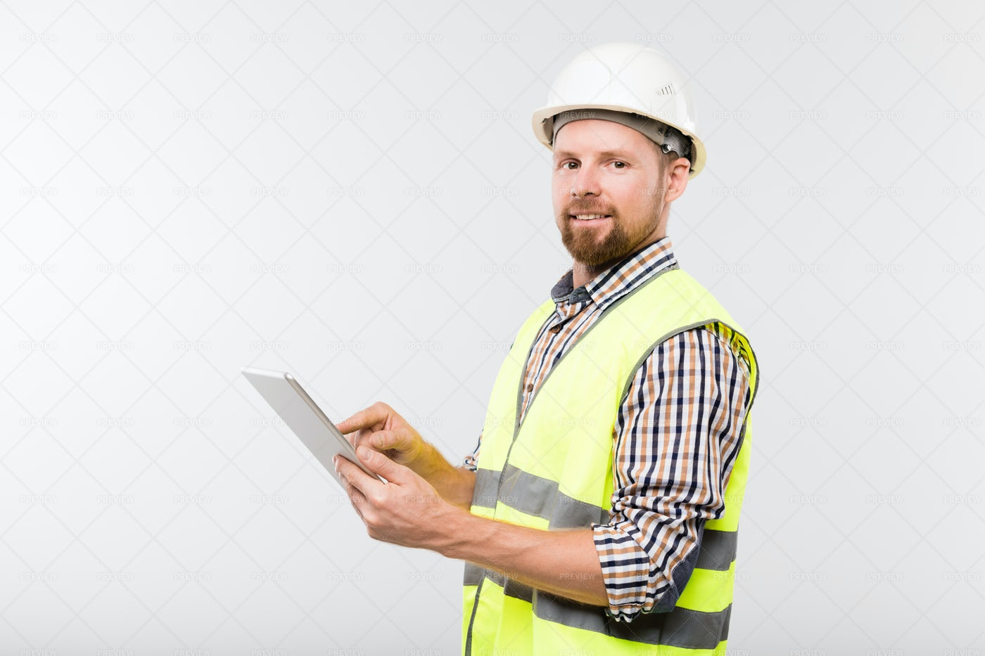 Young Successful Builder In White...: Stock Photos