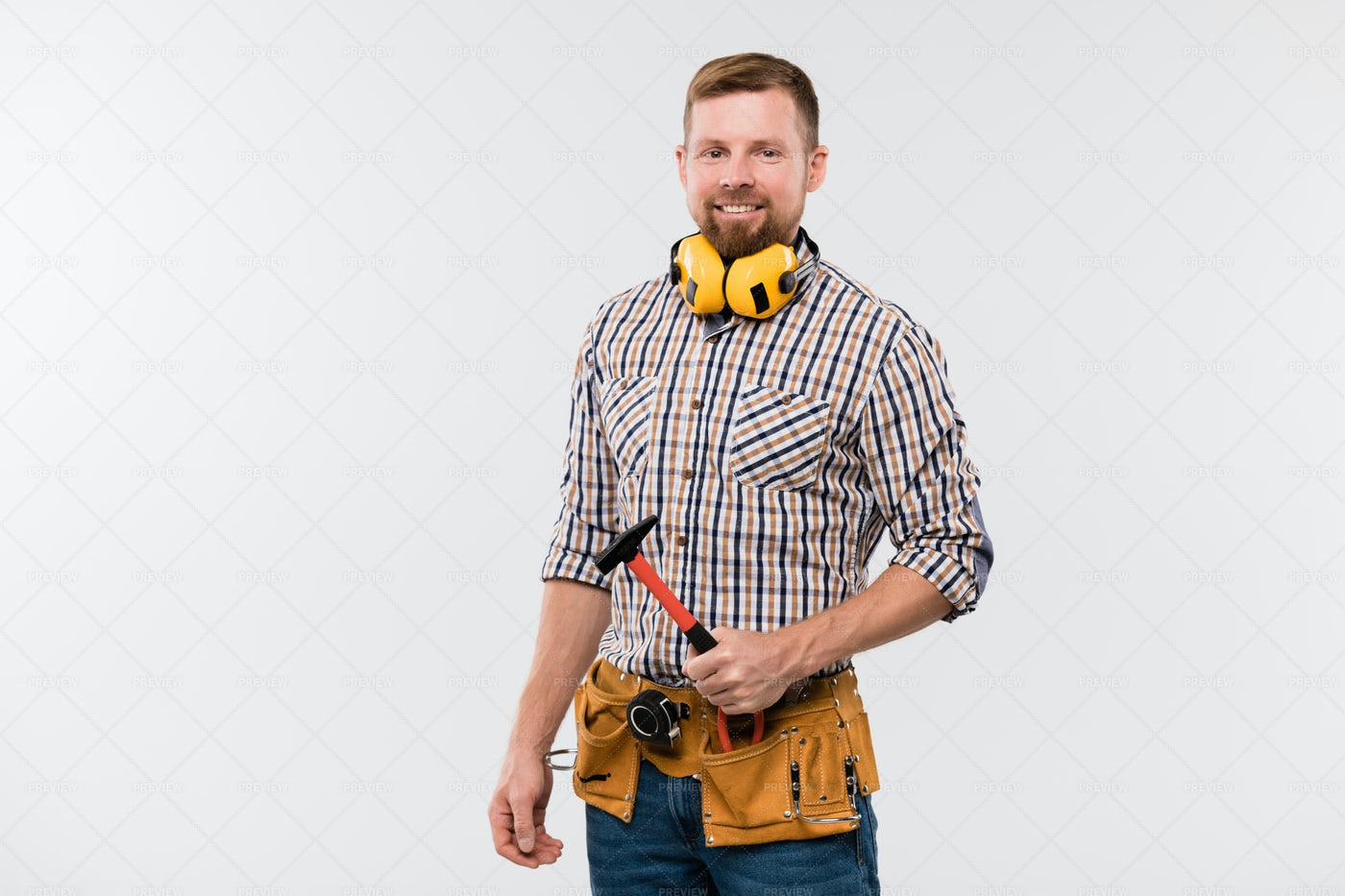 Bearded Smiling Technician With...: Stock Photos