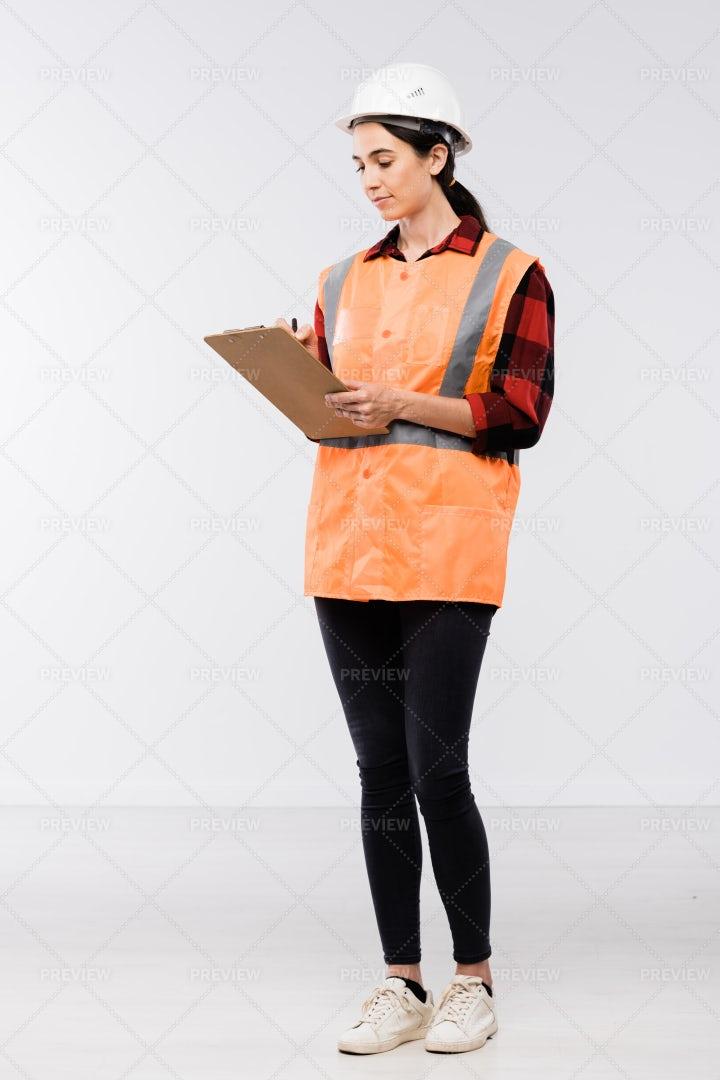 Pretty Female Builder In Hardhat,...: Stock Photos