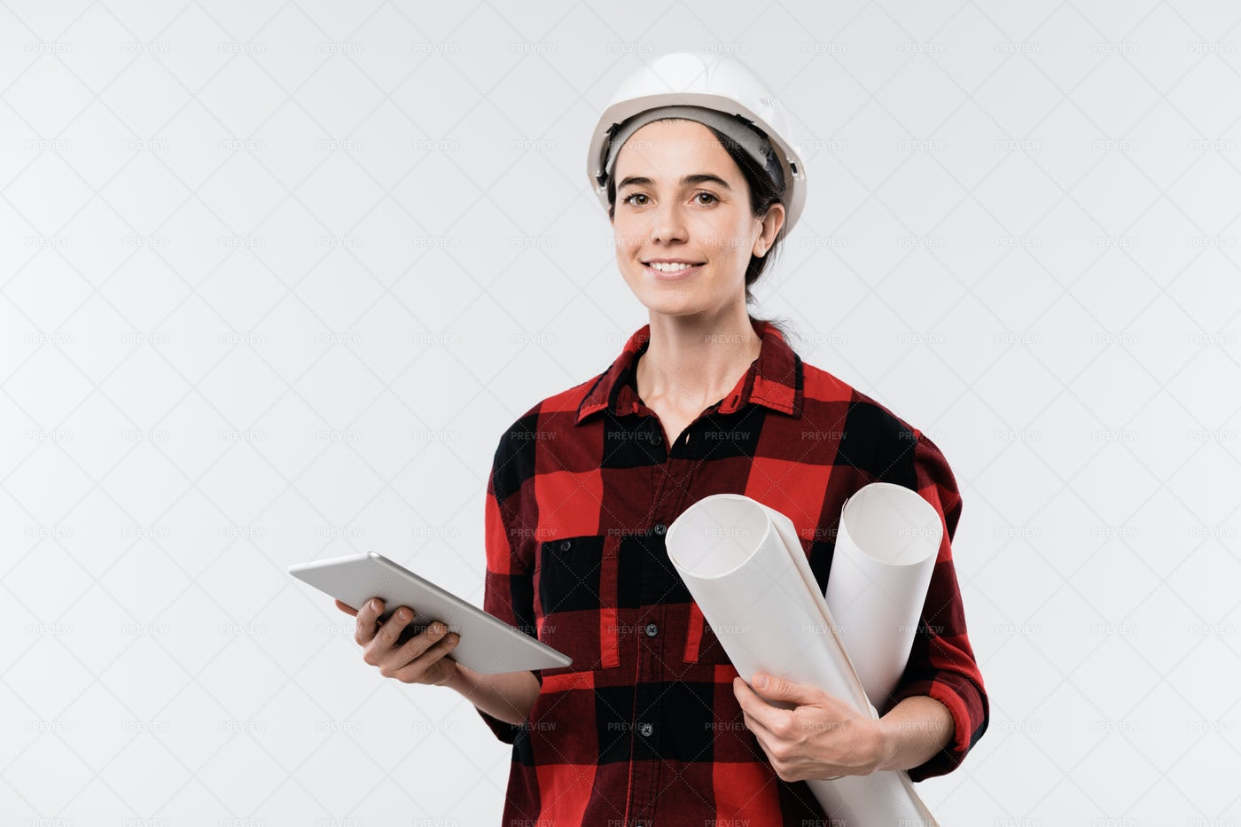 Happy Young Female Architect In...: Stock Photos