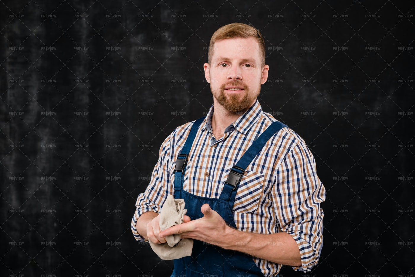 Young Bearded Mechanic Or...: Stock Photos