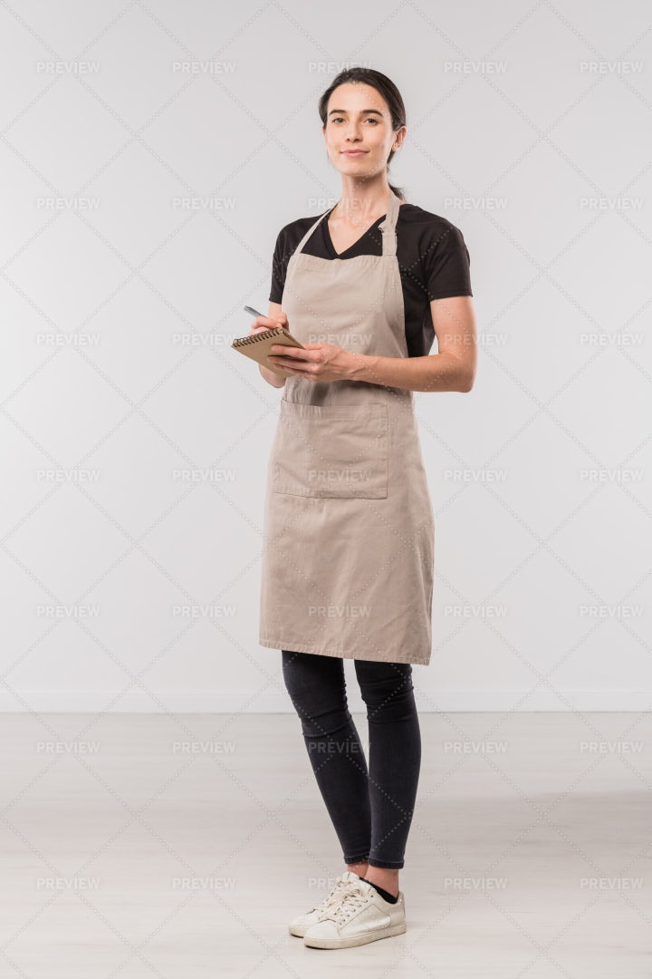 Pretty Young Waitress Of Cafe...: Stock Photos