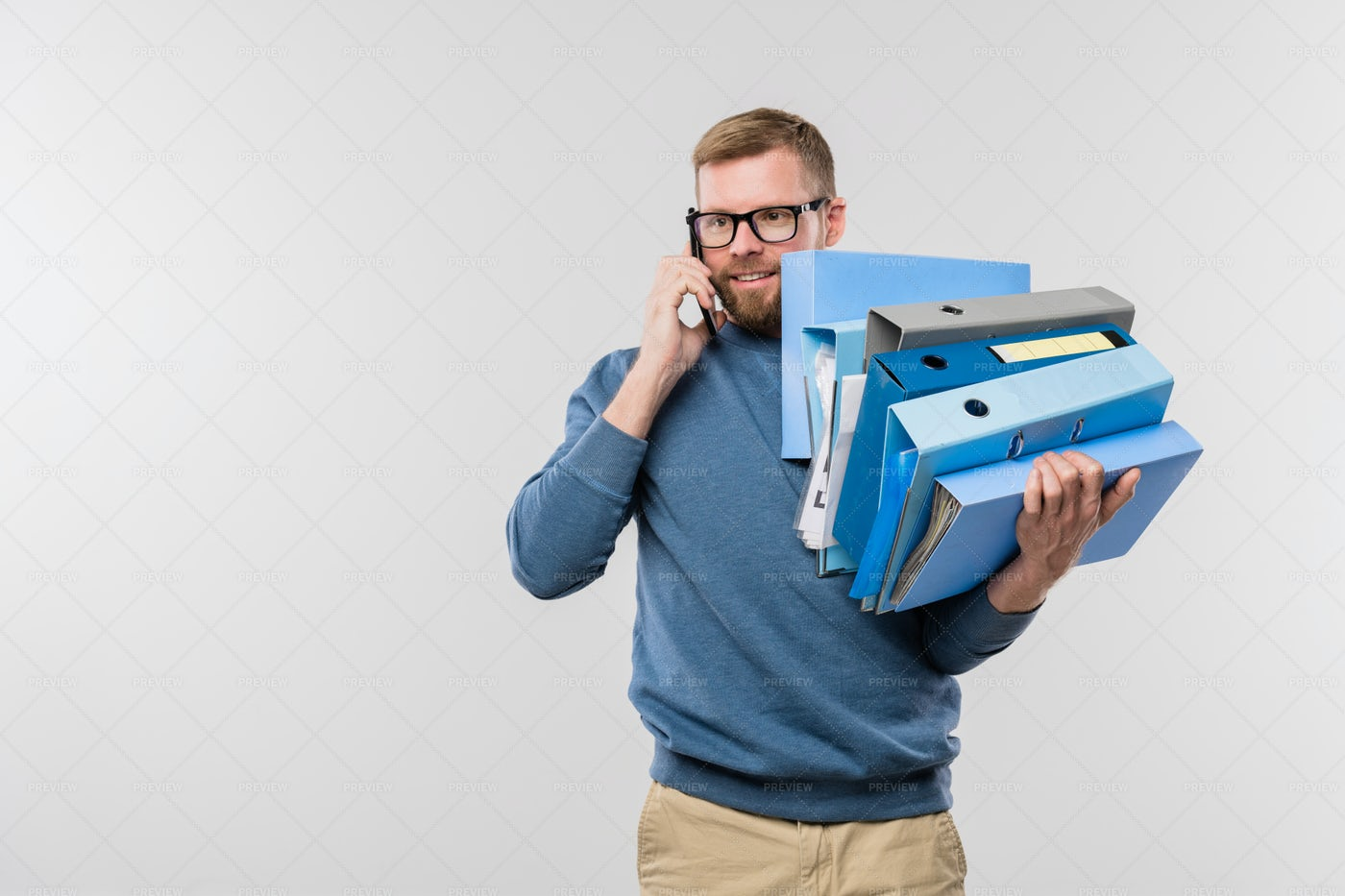 Busy Young Bearded Manager With...: Stock Photos