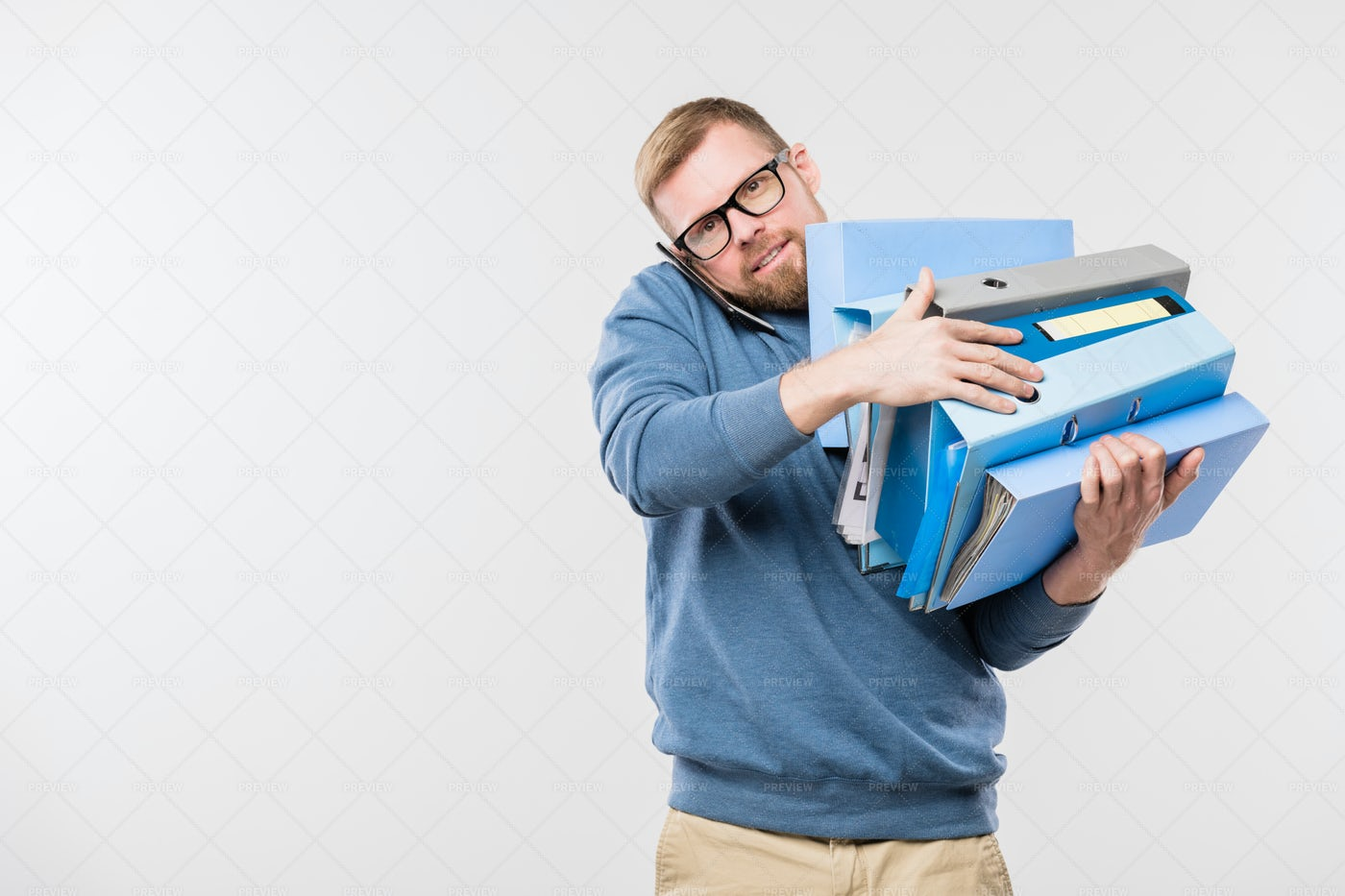 Busy Young Bearded Office Manager...: Stock Photos