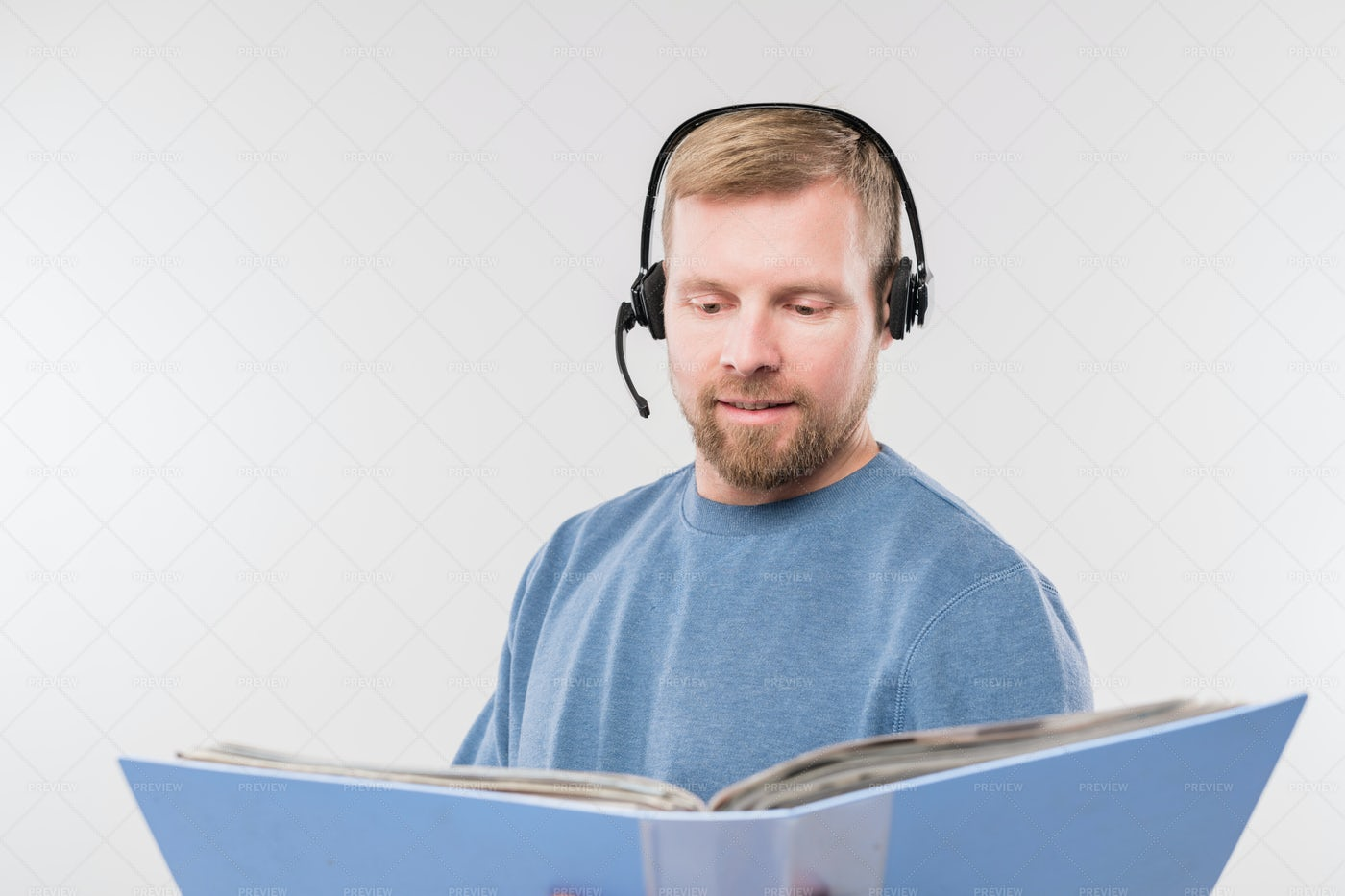 Bearded Young Operator With Headset...: Stock Photos