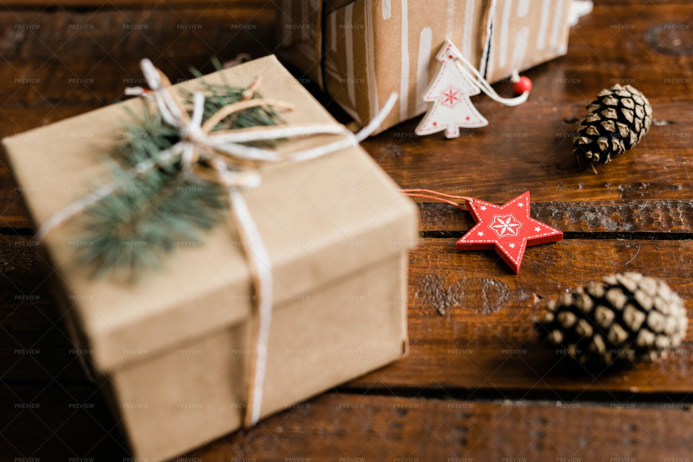 Christmas Decorations, Pine Cones...: Stock Photos