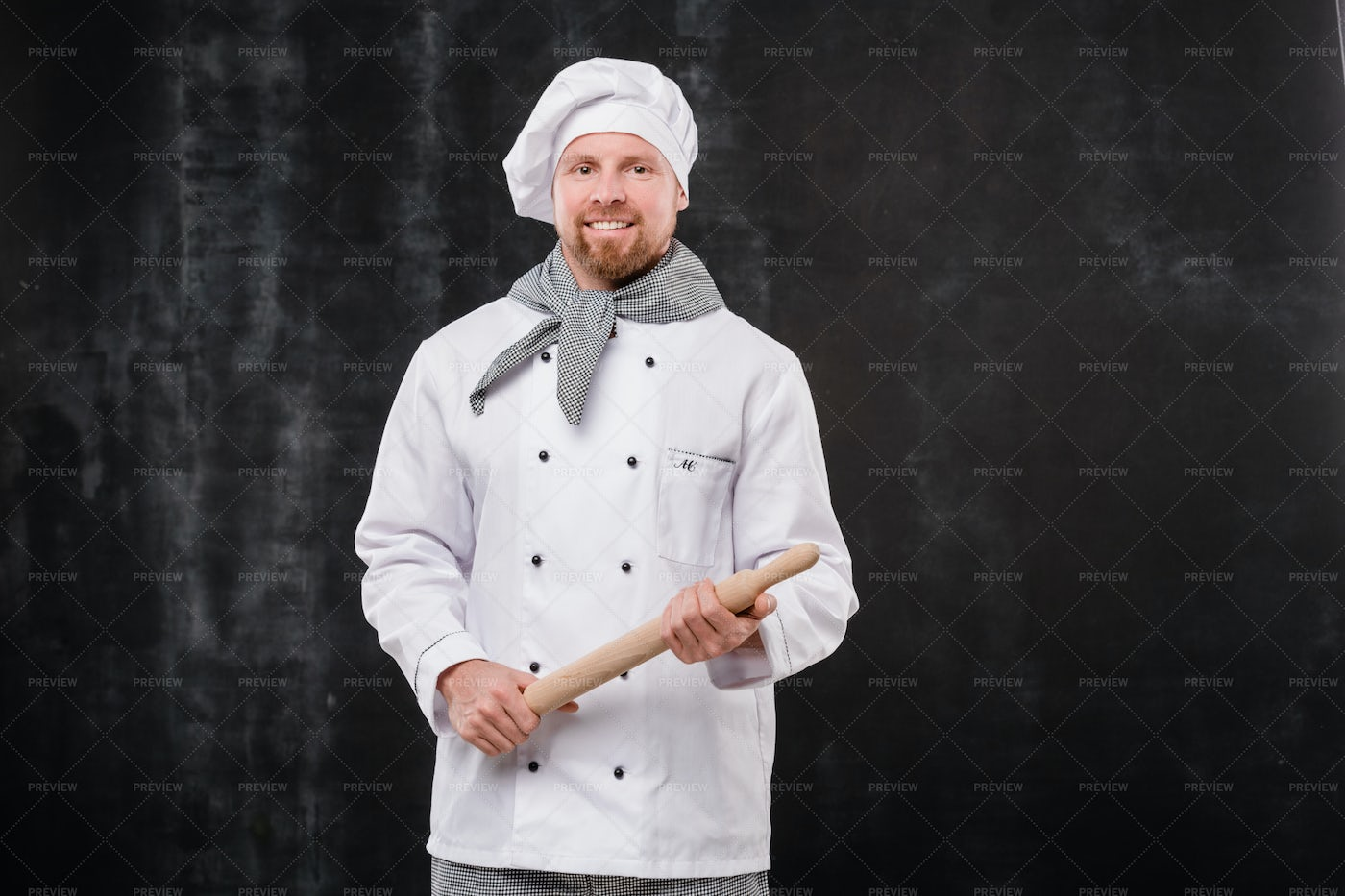 Young Smiling Bearded Chef In White...: Stock Photos