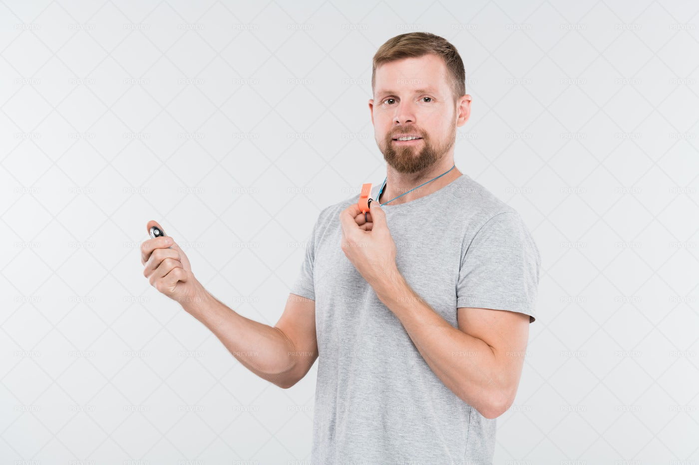 Bearded Young Sports Trainer Or...: Stock Photos