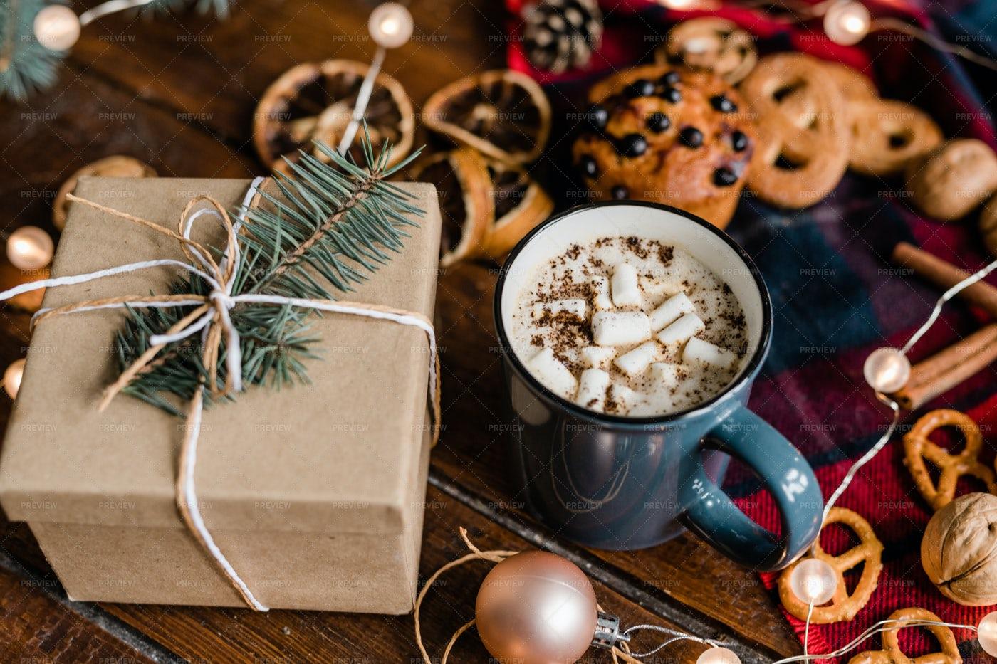 Mug With Hot Coffee, Giftbox With...: Stock Photos