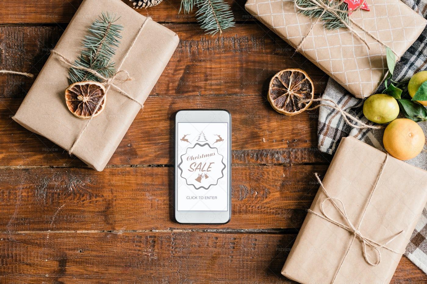 Christmas Sale On Smartphone...: Stock Photos