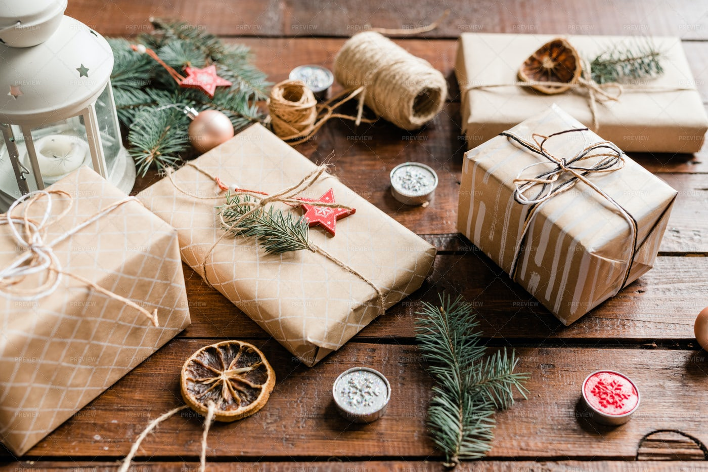 Wrapped Giftboxes Surrounded By...: Stock Photos