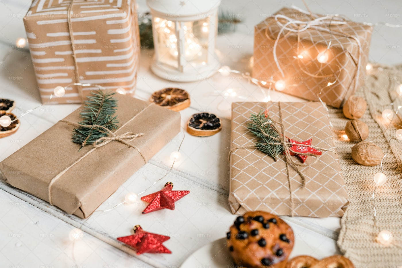 Packed Gifts Among Decorative Red...: Stock Photos
