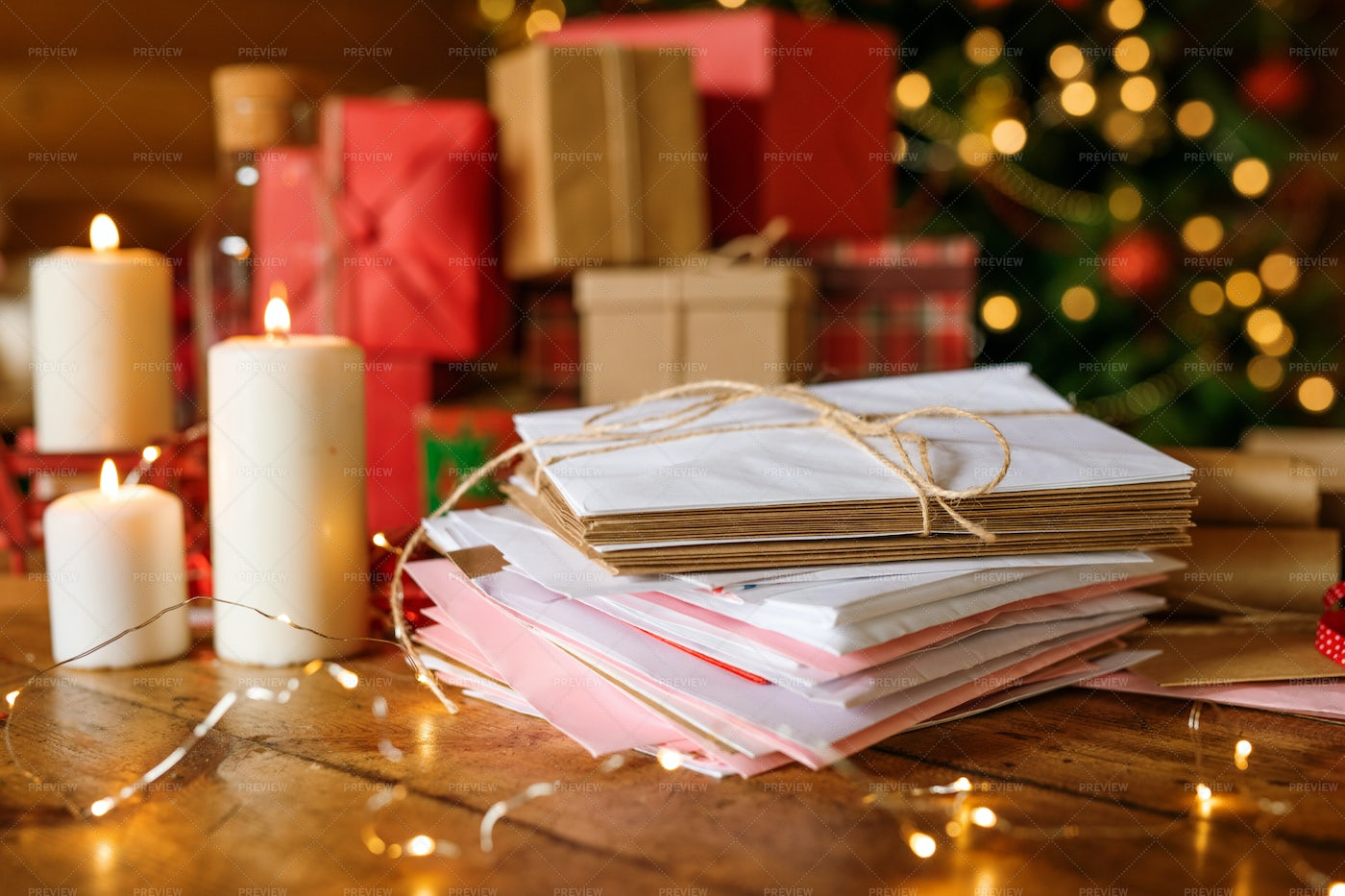 Stack Of Letters For Santa, Three...: Stock Photos