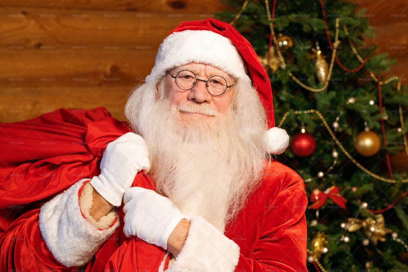 Santa In Traditional Costume, White...: Stock Photos