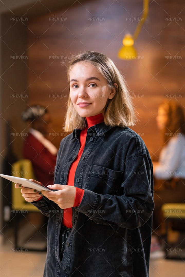 Young Casual Blonde Student With...: Stock Photos