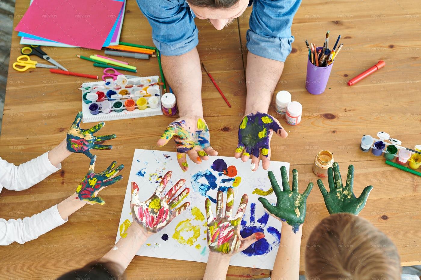 Hands In Paint: Stock Photos