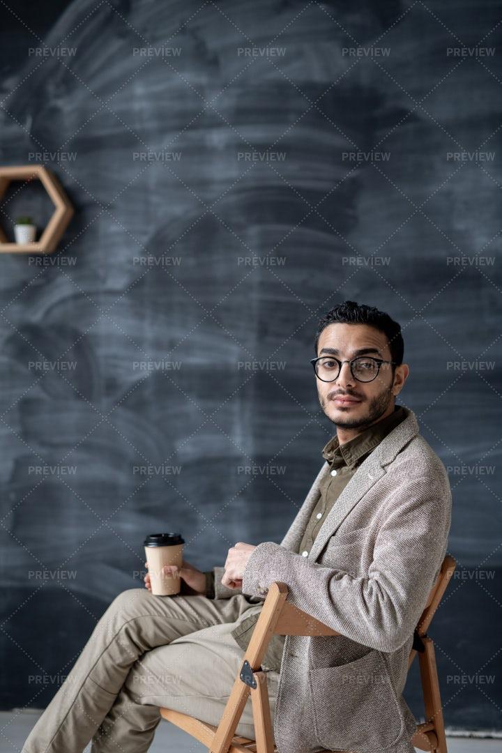 Contemporary Businessman With Glass...: Stock Photos