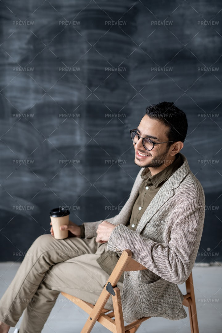 Cheerful Man In Eyeglasses And...: Stock Photos