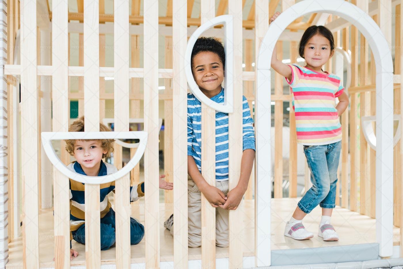 Three Cute Kids Of Asian, Caucasian...: Stock Photos