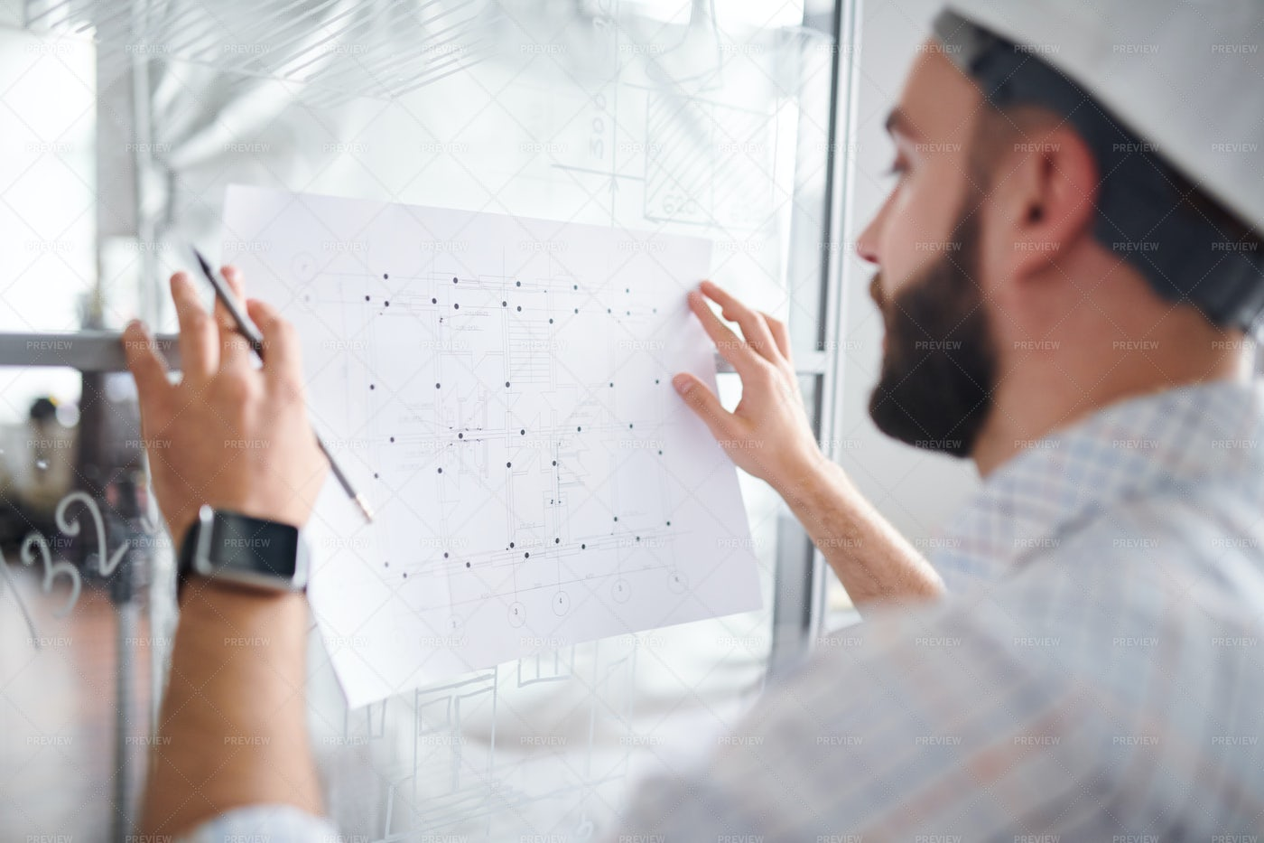 Making Sketch Of Construction: Stock Photos