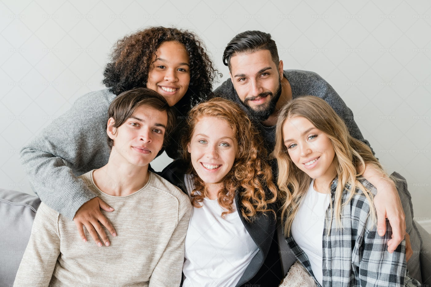 Young Affectionate Smiling Friends...: Stock Photos