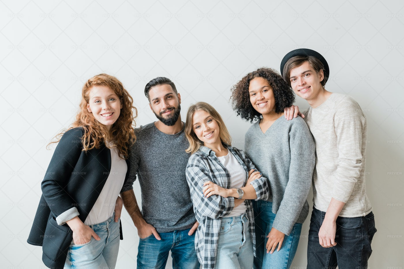 Smiling Guys And Girls In...: Stock Photos