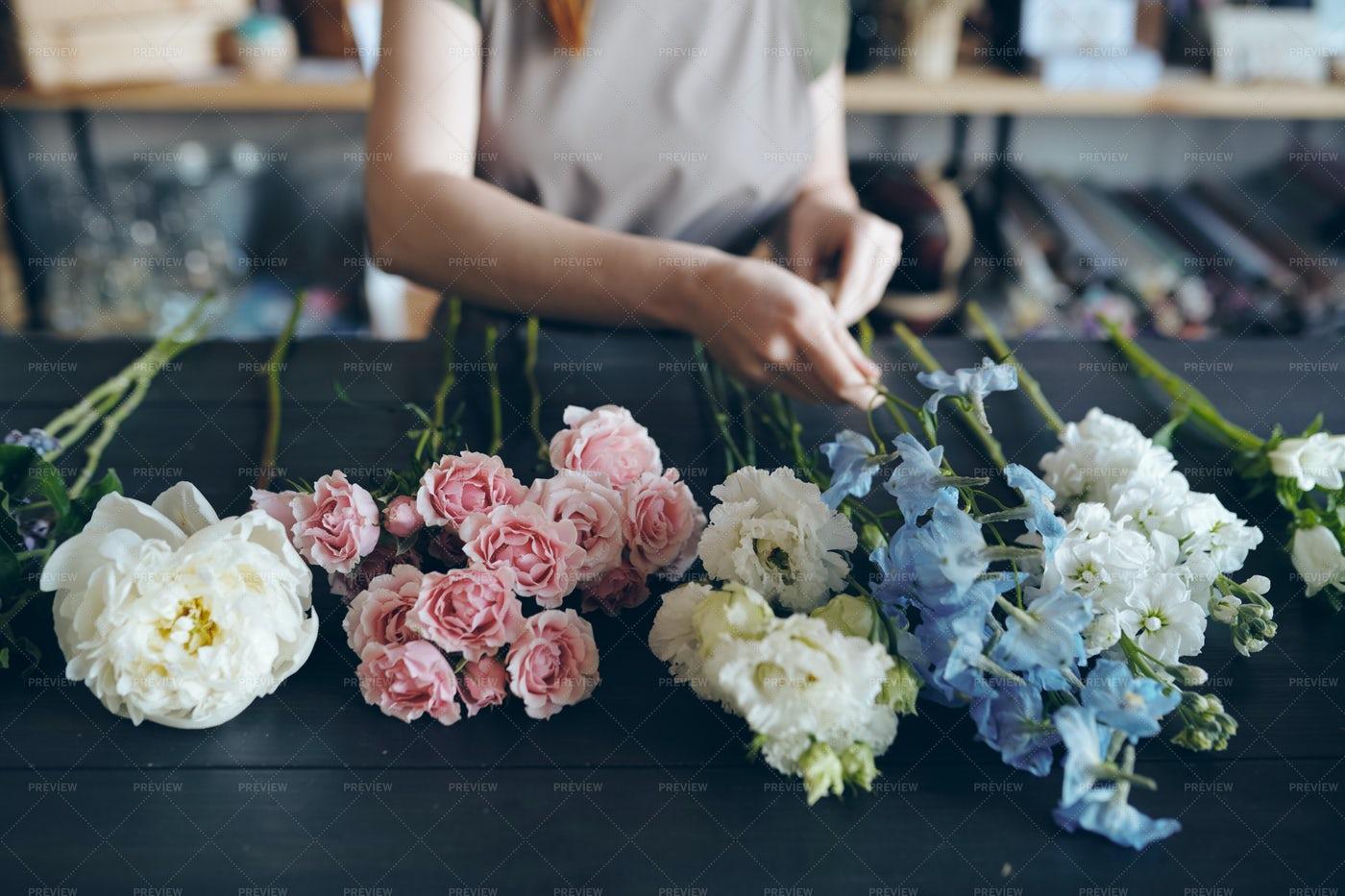 Preparing Flower For Arranging...: Stock Photos