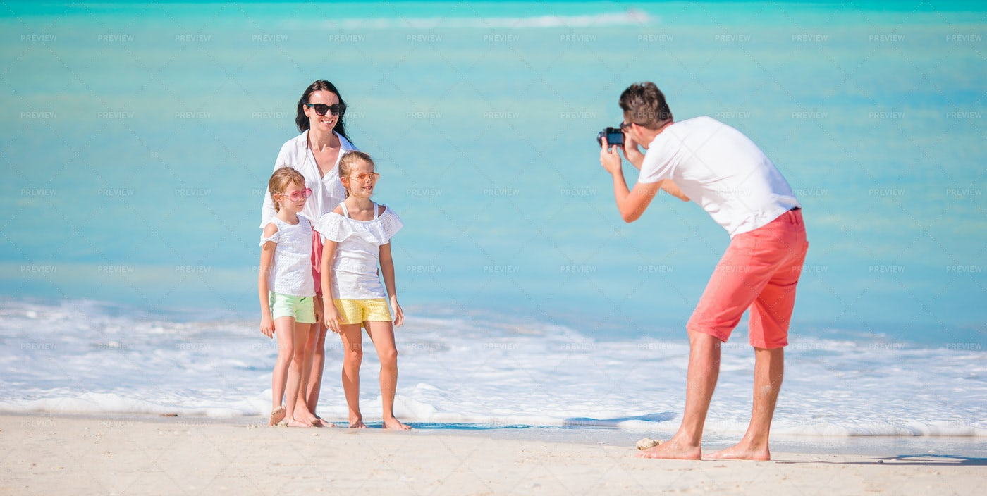 Taking A Family Photo: Stock Photos