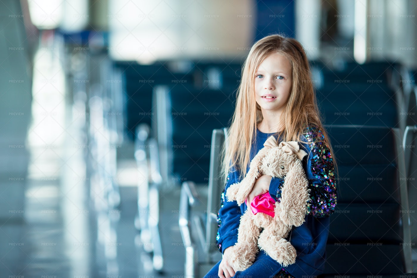Adorable Little Girl In Airport: Stock Photos