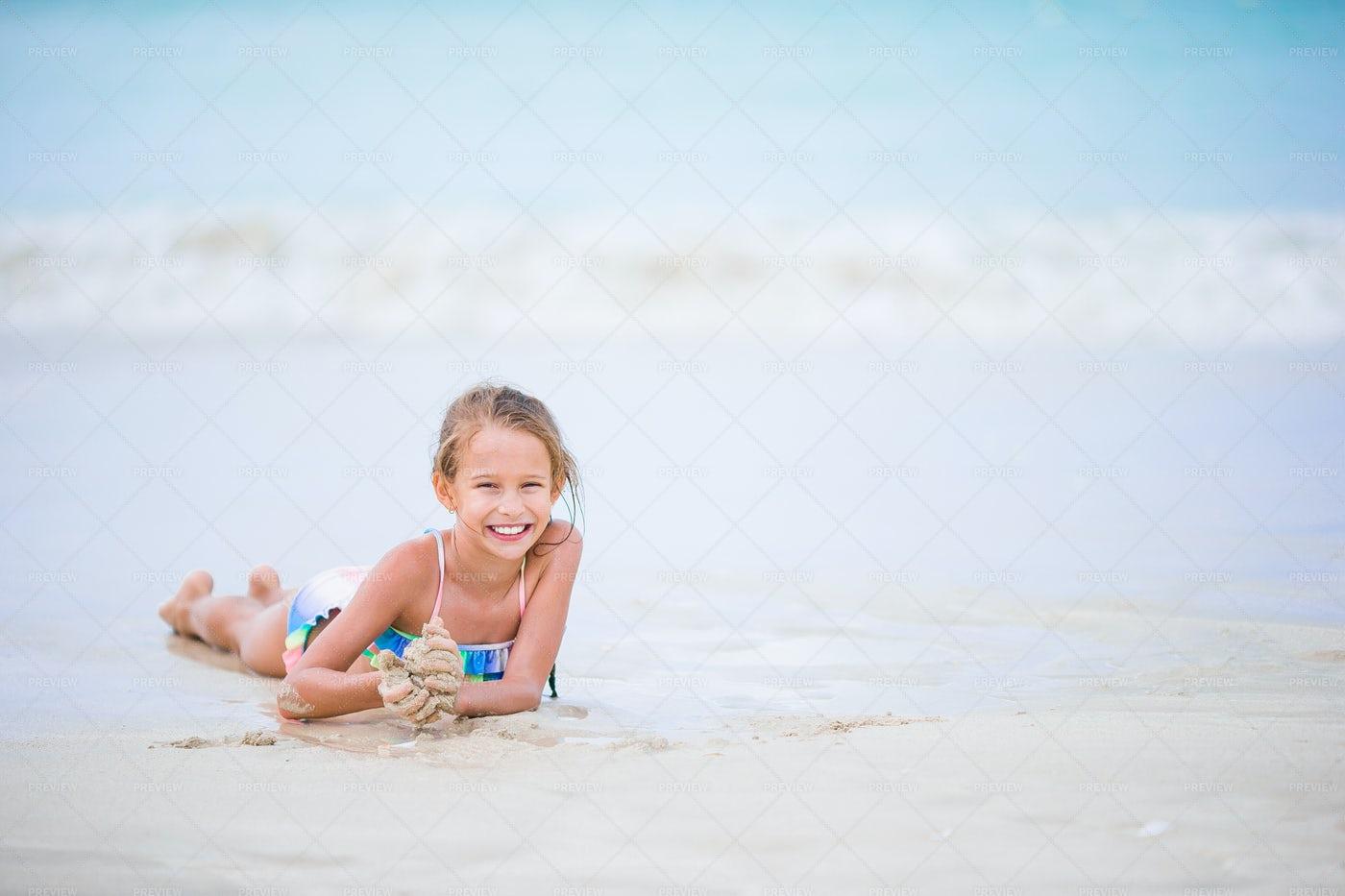 Girl On Beach: Stock Photos