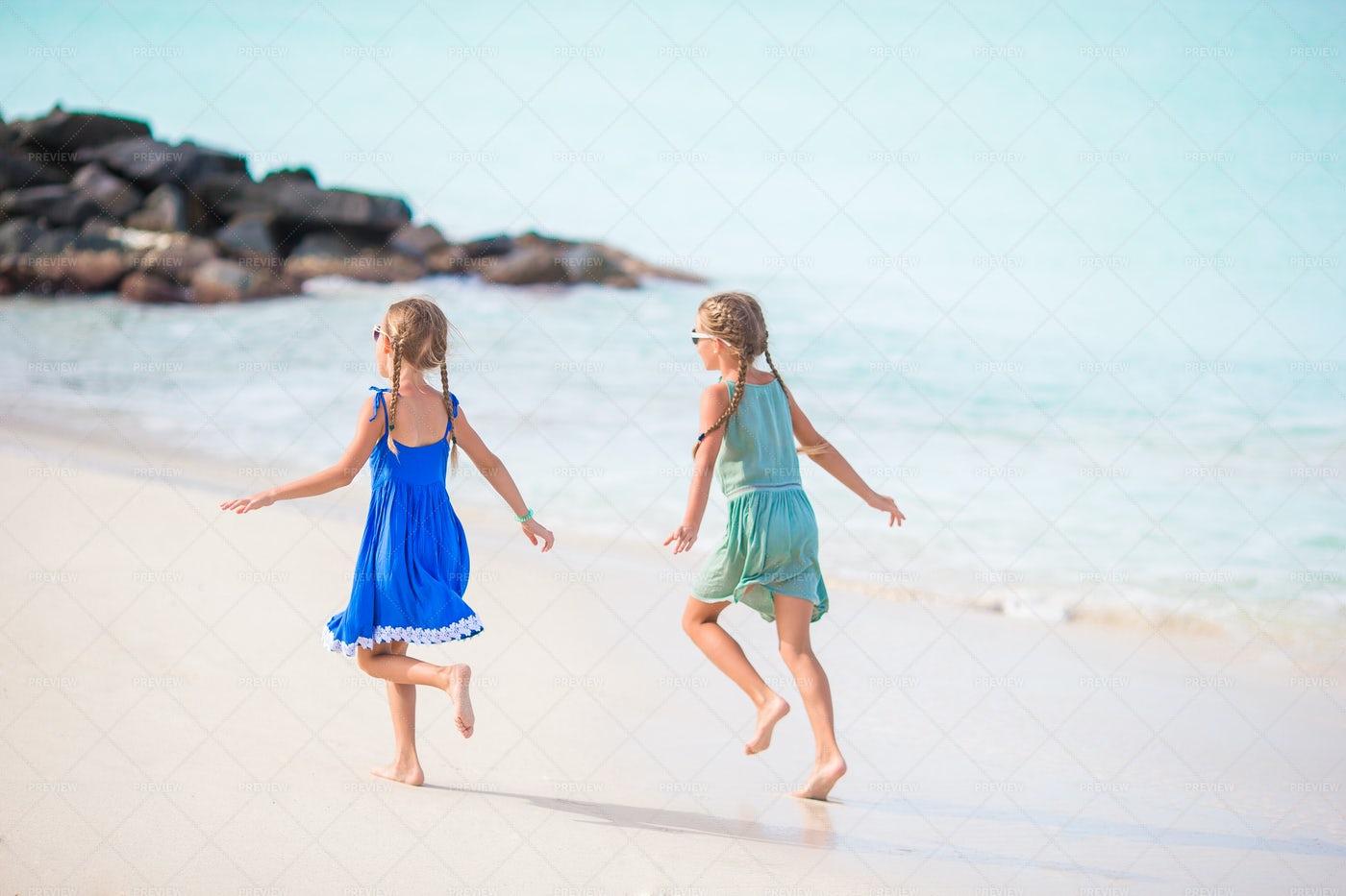 Happy Kids On Beach: Stock Photos