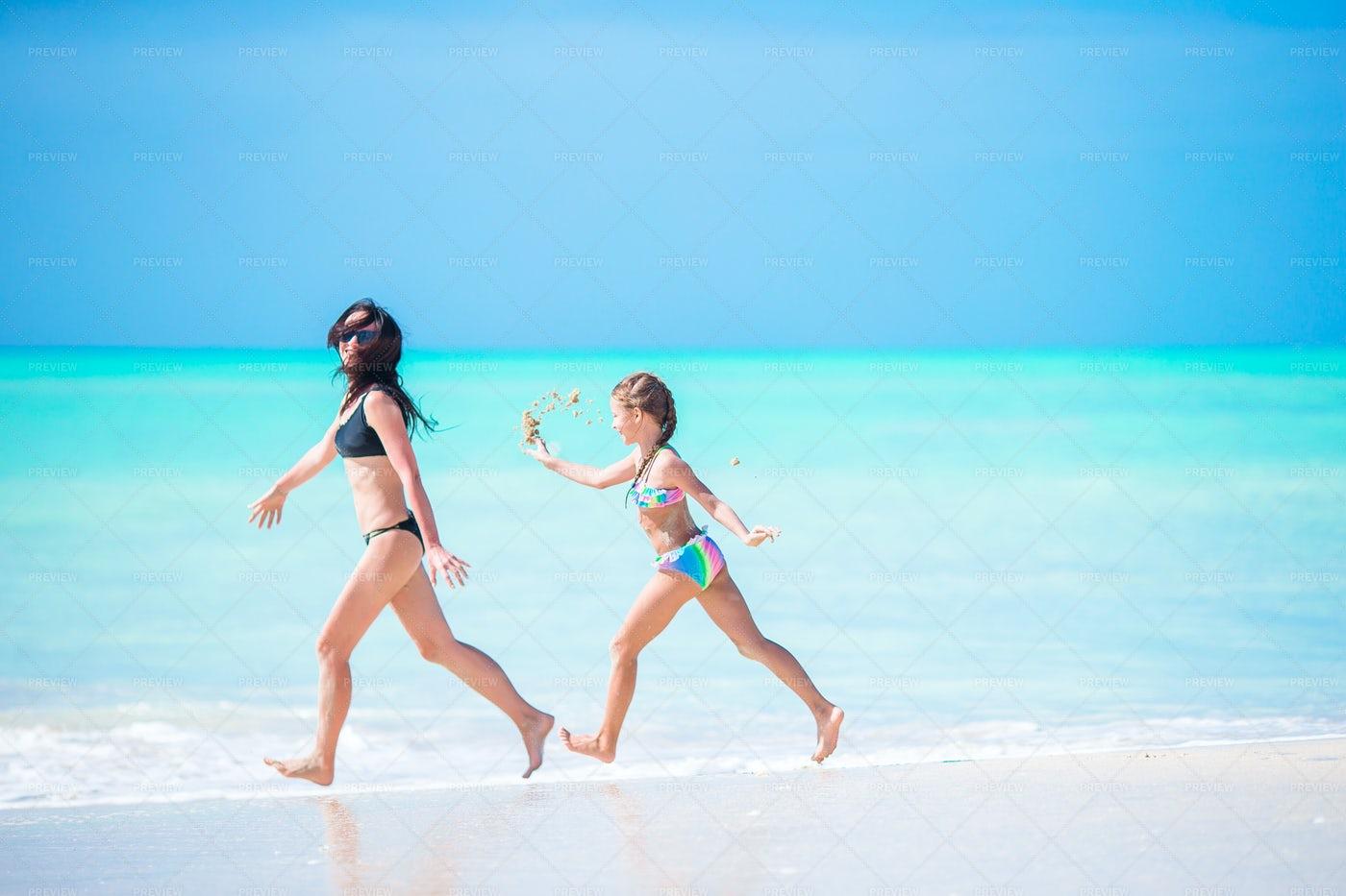 Running On The Beach: Stock Photos