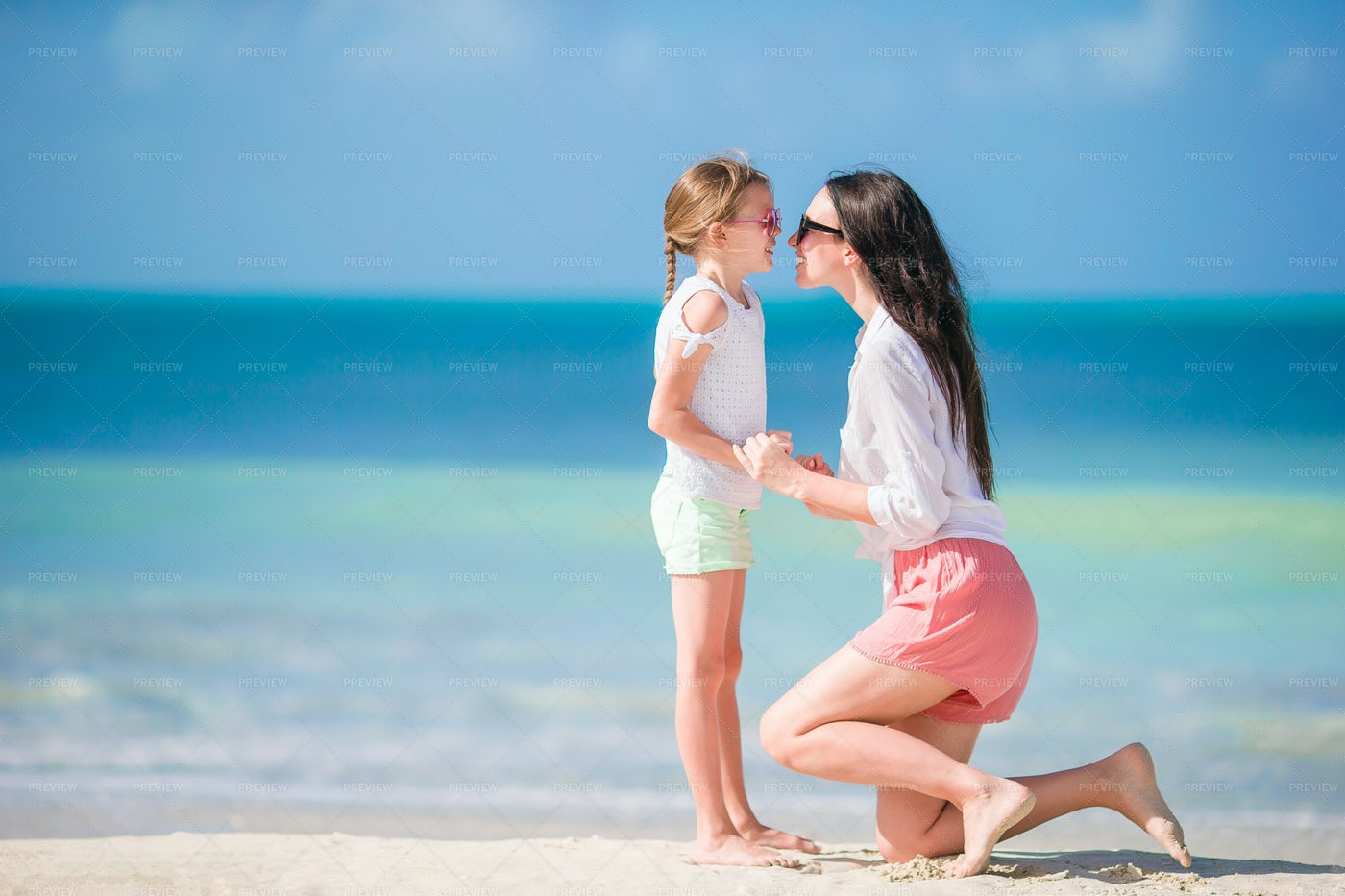 Girl And Mother On Vacation: Stock Photos