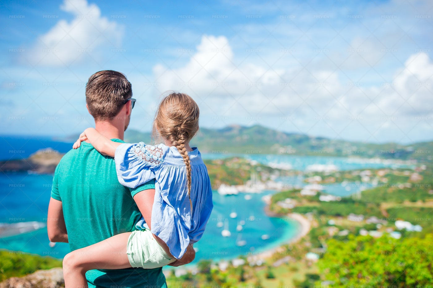 Dad And Daughter Enjoy The View: Stock Photos