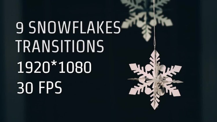 9 Snowflakes Transitions: Stock Motion Graphics