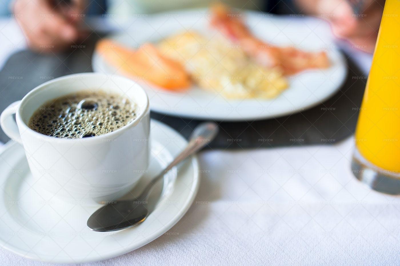Black Coffee At Breakfast: Stock Photos