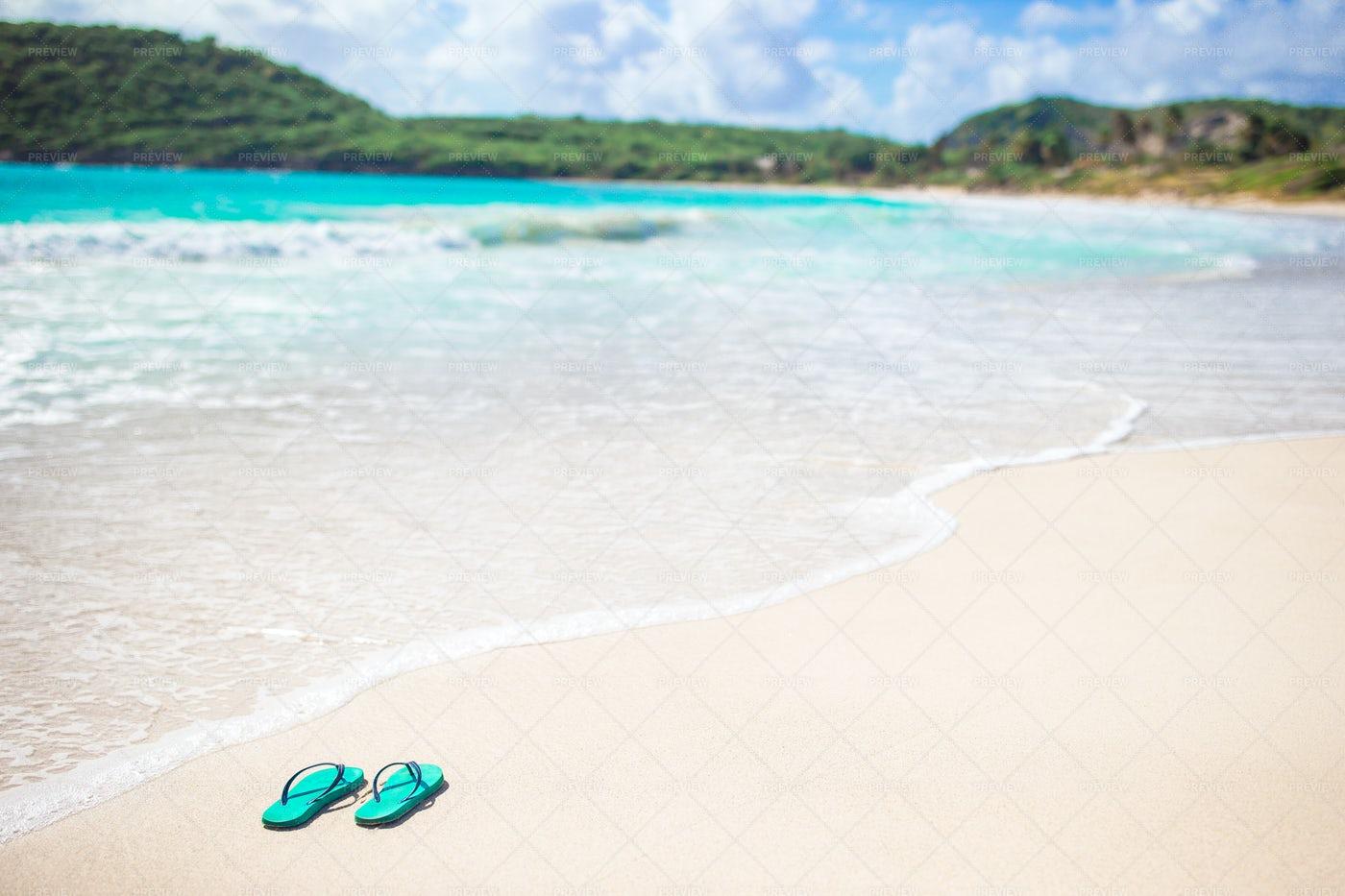 Mint Colored Flip Flops: Stock Photos