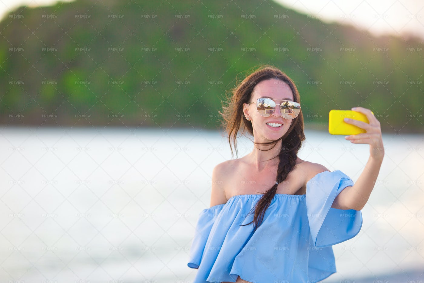 Taking  A Vacation Selfie: Stock Photos