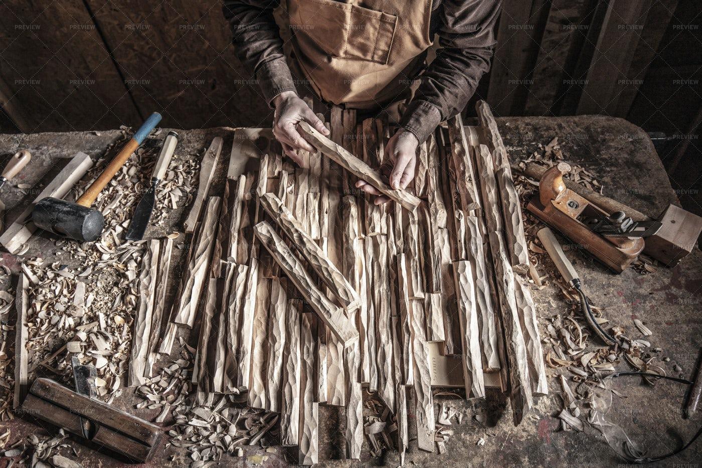 Carpenter In Workshop: Stock Photos
