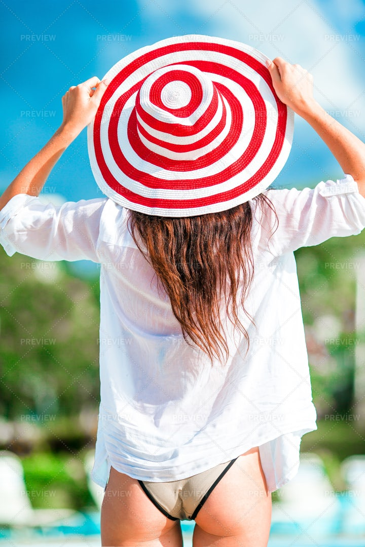 Woman With Colorful Hat: Stock Photos