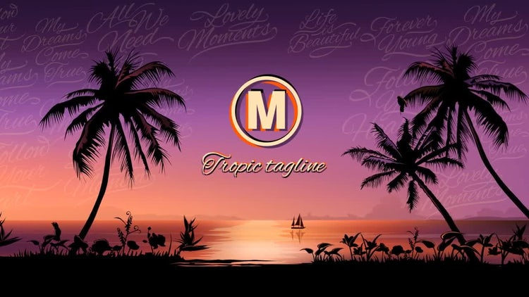 Tropical Sunset Logo Opener: After Effects Templates