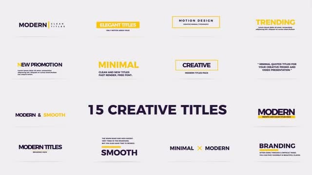 Creative Modern Titles: Premiere Pro Templates