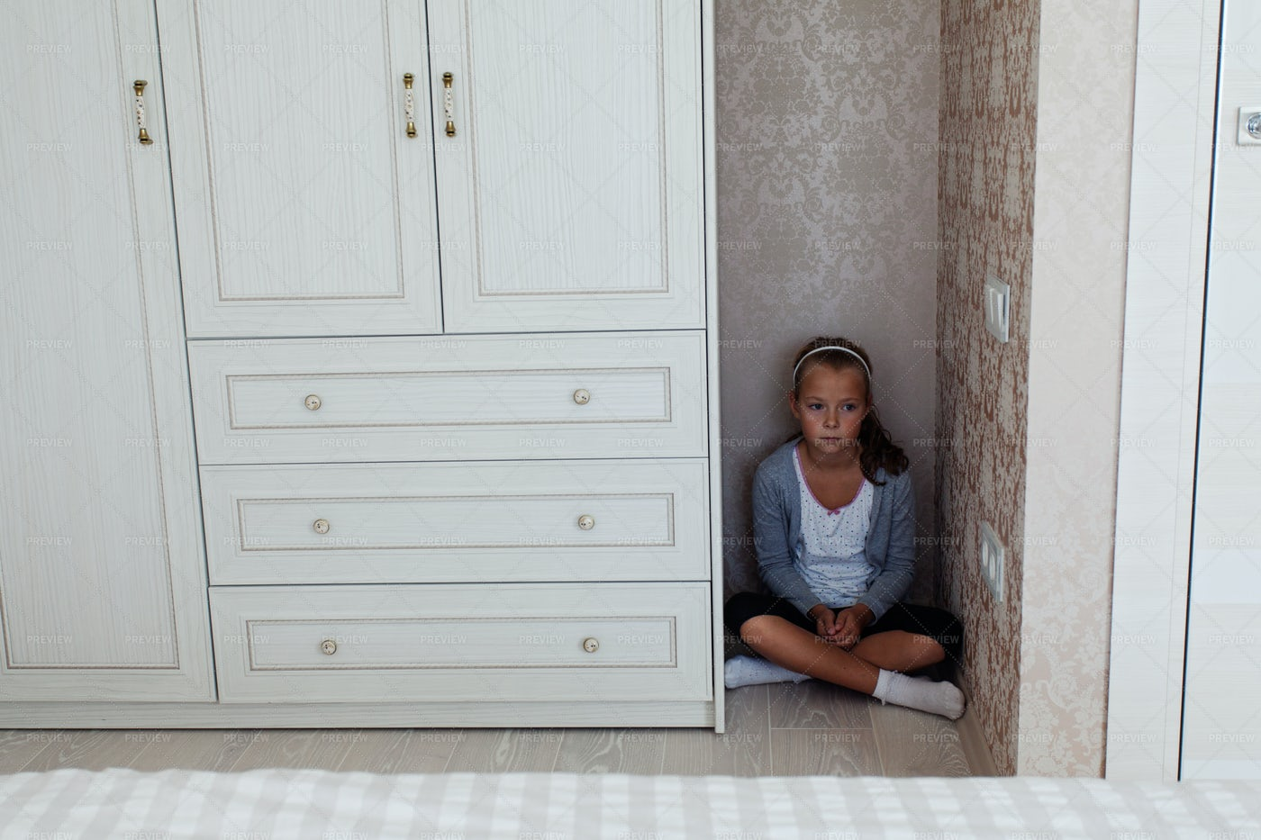 Sad Girl Sitting On Floor: Stock Photos